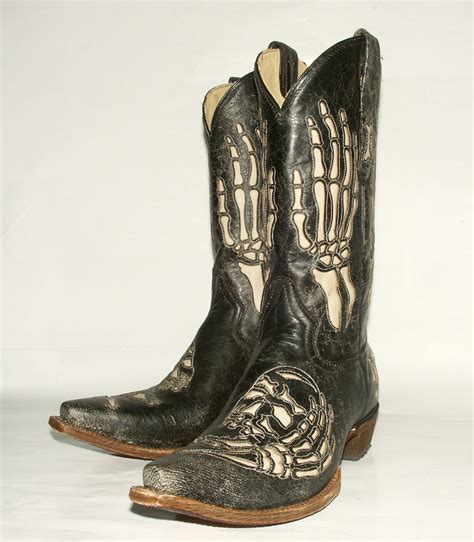 skull boots skull bone inlay corral s black crackle western boot