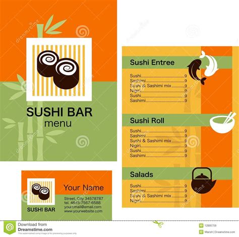 sushi menu template and business card with logo royalty