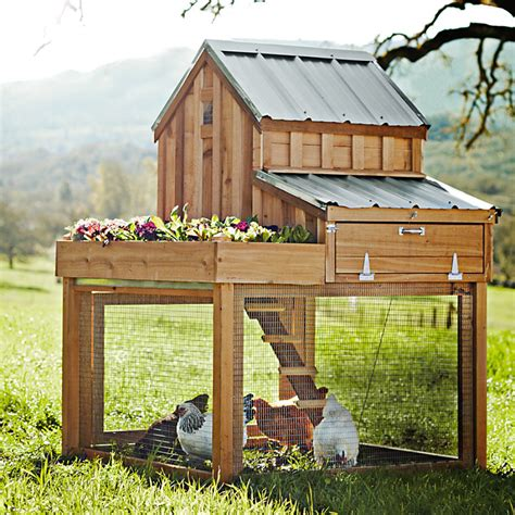 Planters Coop by Cedar Chicken Coop And Run With Garden Planter The Green