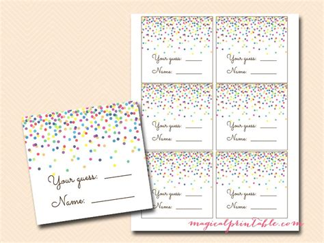 guess my number printable cards baby sprinkle games confetti baby shower games magical