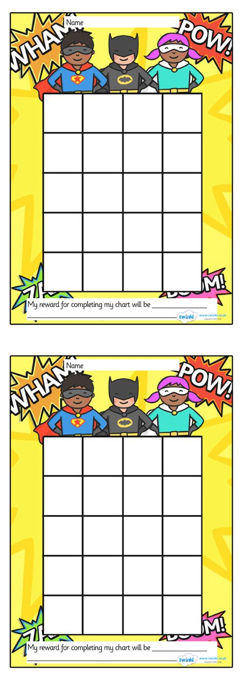 printable reward chart classroom twinkl resources gt gt superhero sticker st reward chart