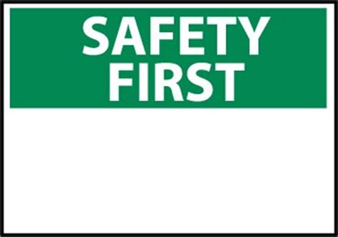 safety first sign blank