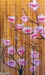 Natural bamboo beaded doorway window photo backgroung beads curtain