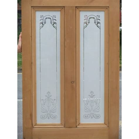 Door Glass Design Ed001 Etched Glass Door With Nouveau Glass Design