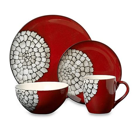 bed bath beyond dishes red pebbles 16 piece dinnerware set bed bath beyond