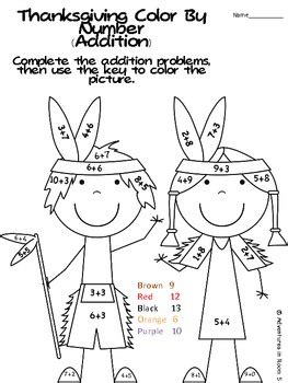 turkey addition coloring page thanksgiving color by numbers addition and subtraction tpt