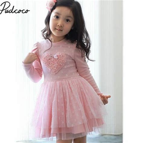 Q483 Baby Pink Birthday Tulle Dress pink kid baby dresses sleeve 3d tulle tutu dress 2 7y autumn winter