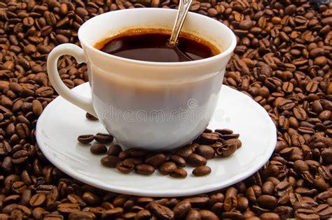 El S Coffee cap of coffee with cofee beans stock image image 2004181