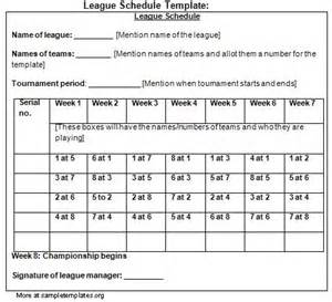 7 Team Schedule Template by Schedule Template For League Exle Of League Schedule