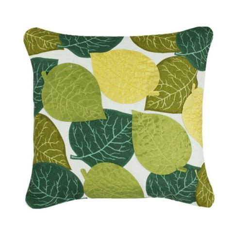 Leaves Cushion applique leaves cushion green and yellow