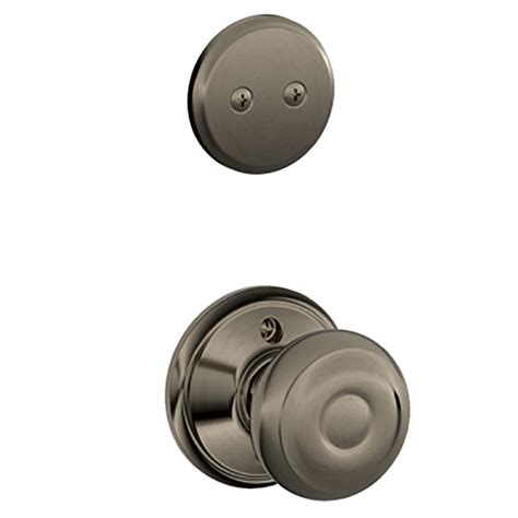 Exterior Door Knobs And Locks Shop Schlage Georgian 1 5 8 In To 1 3 4 In Antique Pewter Non Keyed Knob Entry Door Interior