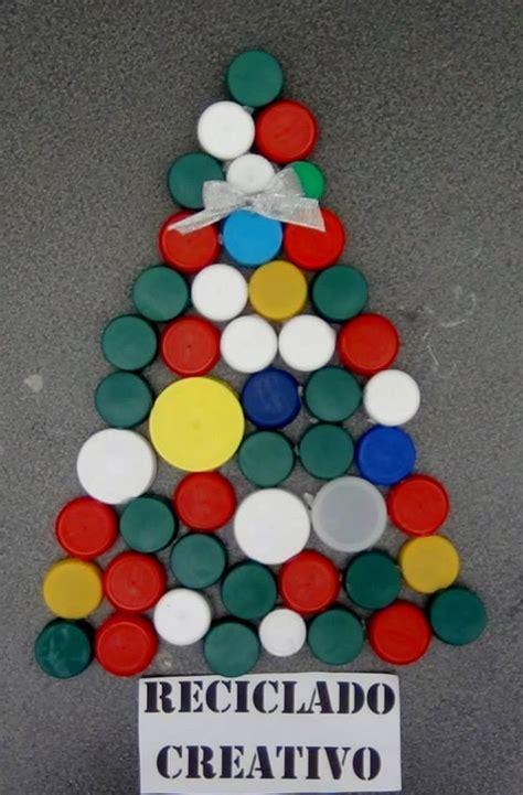divertido 193 rbol de navidad realizado reciclando tapones de