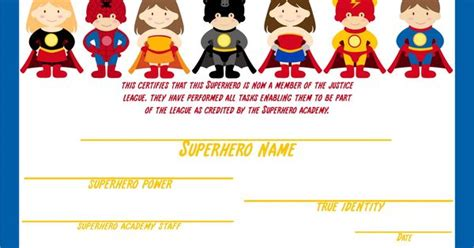 superhero certificate awarded after kids complete