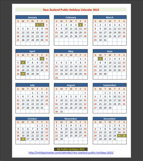 printable calendar 2014 and 2015 nz new zealand public holidays 2015 holidays tracker