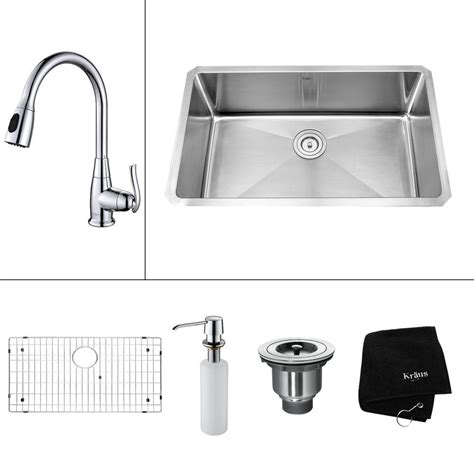 Kitchen Sink 30 Kraus All In One Undermount Stainless Steel 30 In Single Bowl Kitchen Sink With Faucet And