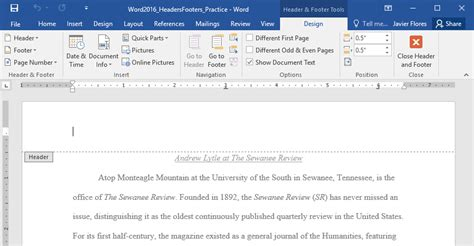 design a header in word word 2016 headers and footers full page