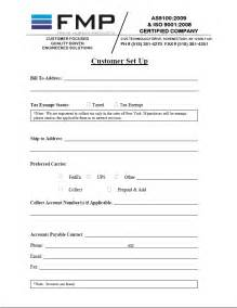 new customer account form template new customer forms fmp frank murken products