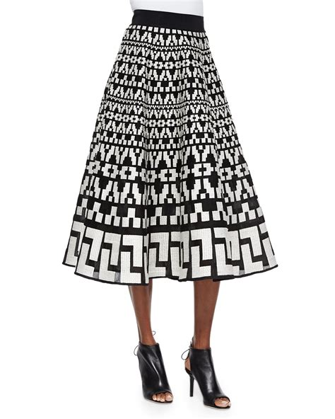 black patterned midi skirt dkny printed a line skirt in black lyst