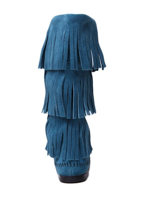 peacock rubber st minnetonka minnetonka 3 layer fringe boots in peacock blue