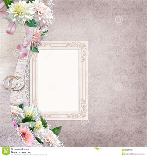 Wedding Border Background by Beautiful Border With Flowers Frame And Wedding Rings On