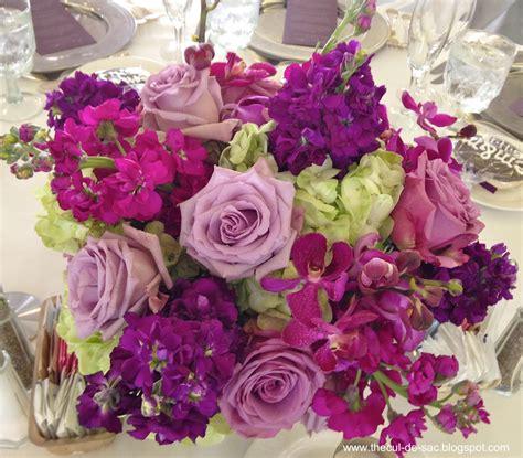 The Cul De Sac Wedding Flowers Purple Flower Arrangements Centerpieces