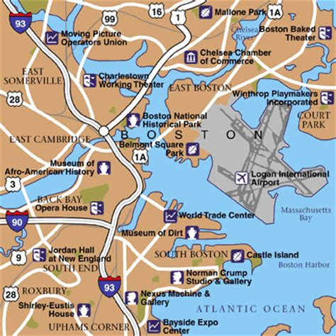 map of boston area boston maps maps to get to and from boston logan airport bos