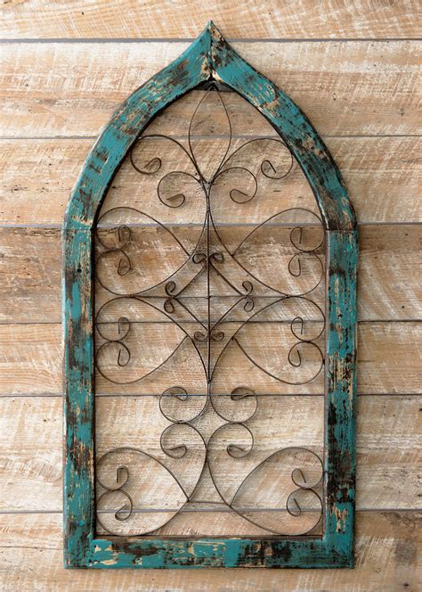 Turquoise Spanish Scroll Window Wall Hanging