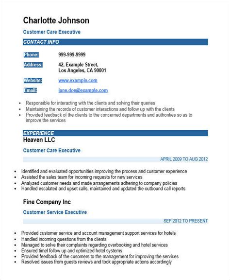 resume format for customer support executive 35 free executive resumes