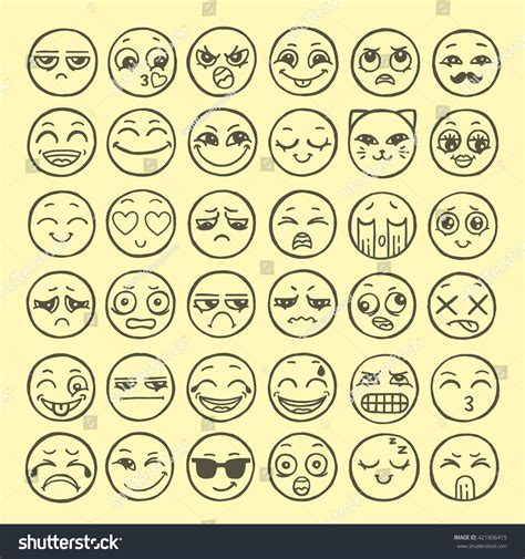 how to do smiley on doodle fit set of emoticons set of emoji smile icons