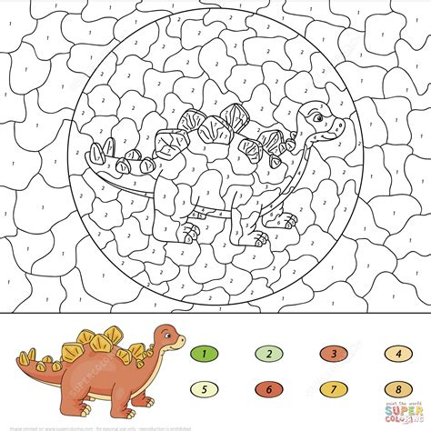 color a dinosaur stegosaurus color by number free printable coloring pages