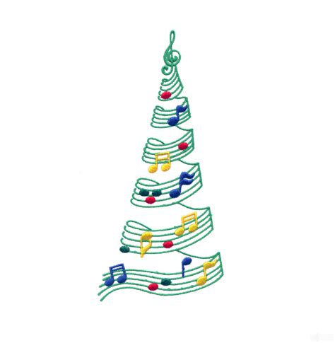 music christmas tree embroidery design