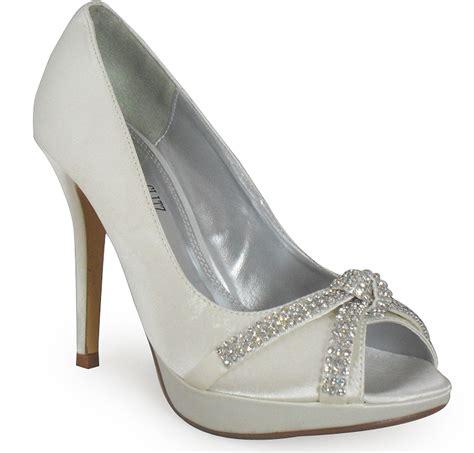 new womens ivory satin peeptoe platform diamante bridal