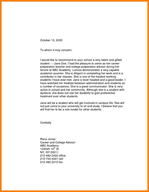 Sle Recommendation Letter For College Student Recommendation Letters For High School Students Going To