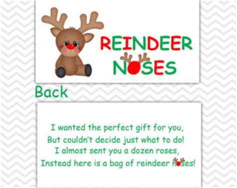 printable reindeer noses poem items similar to reindeer noses diy printable treat bag