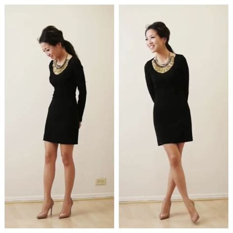 simple black dress and statement necklace evening