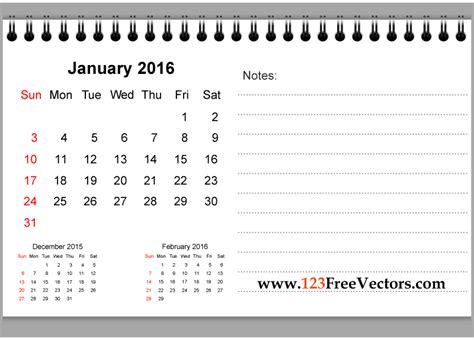 printable version of january 2016 calendar january 2016 printable calendar with notes by