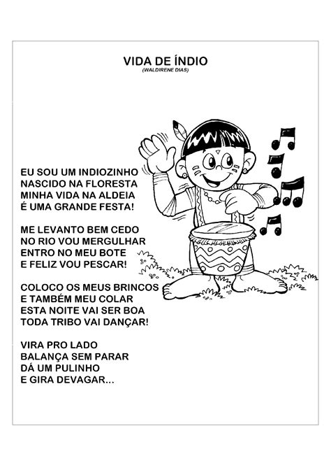 Atividade com música para o Dia do Índio - Só Atividades