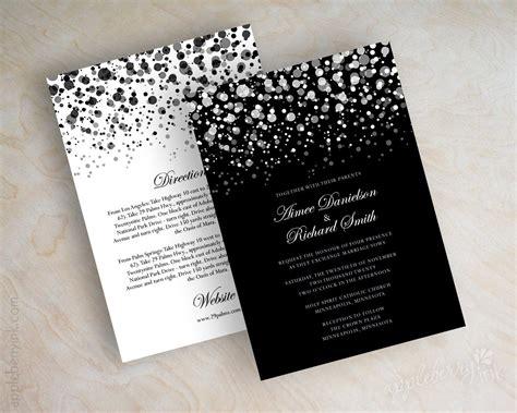 wedding invitation black and black and white polka dot wedding invitation modern polka