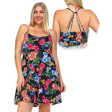 Floral Strappy A Line Dress plus size floral a line fit flare strappy skater dress