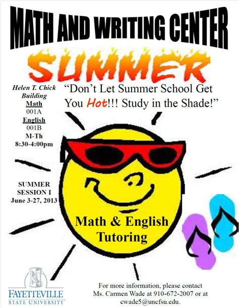 reminder math and writing center summer tutoring