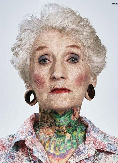 tattooed granny tattooed pensioners pose to prove that inkings look