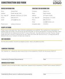 construction bid template bid template sles autos weblog
