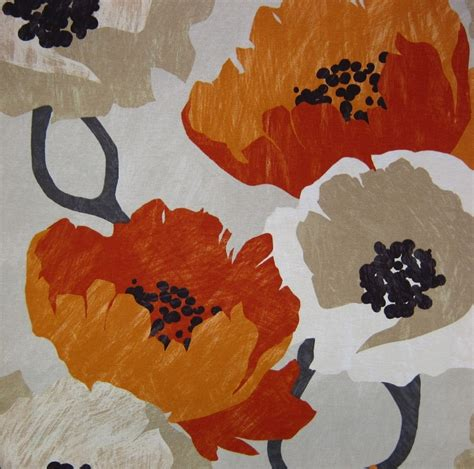Orange Upholstery Fabric Orange Floral Fabric Modern Orange Fabric By The Yard