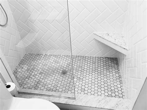 marble and white subway bathroom shower white beveled