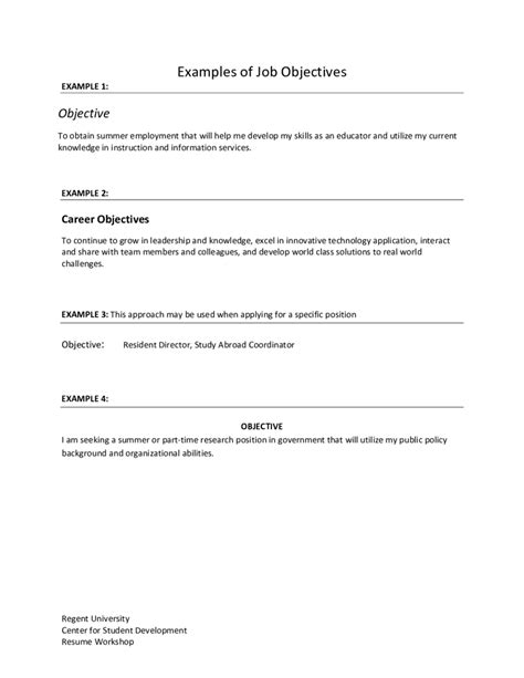 resume template objective statements for a targeted great great