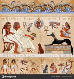 Exterior Wall Murals ancient egypt scene egyptian gods and pharaohs stock