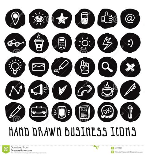 doodle 4 email address doodle black business icons vector set stock