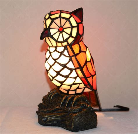 stained glass owl l stained glass style jeweled owl light table