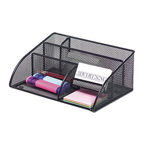 office max desk organizer brenton studio metro mesh angled desk organizer black by