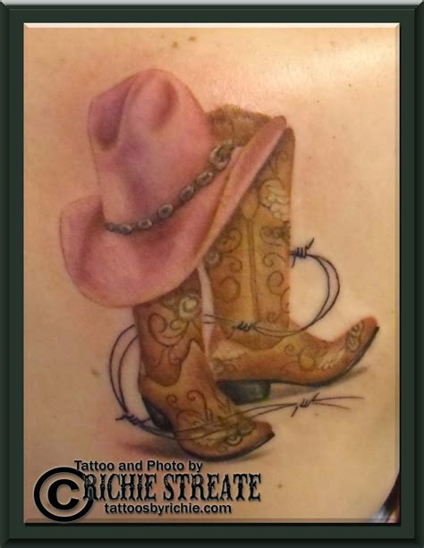 cowgirl pinup tattoos boots and hat tattoos